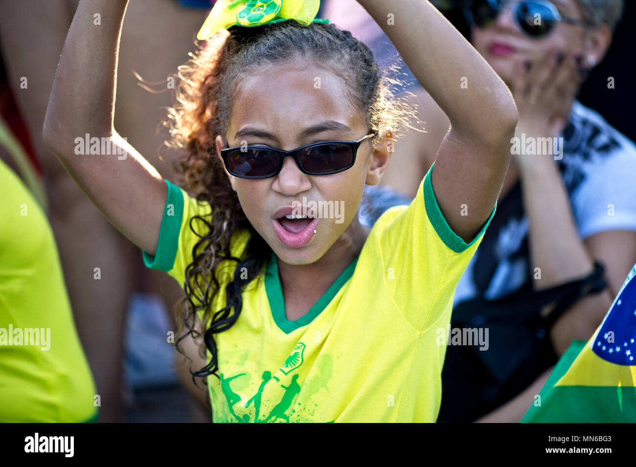Copacabana beach, Rio de Janeiro - April 17, 2016: Demonstrators protest against corruption in Brazil and the government of President Dilma Rousseff - Stock Image