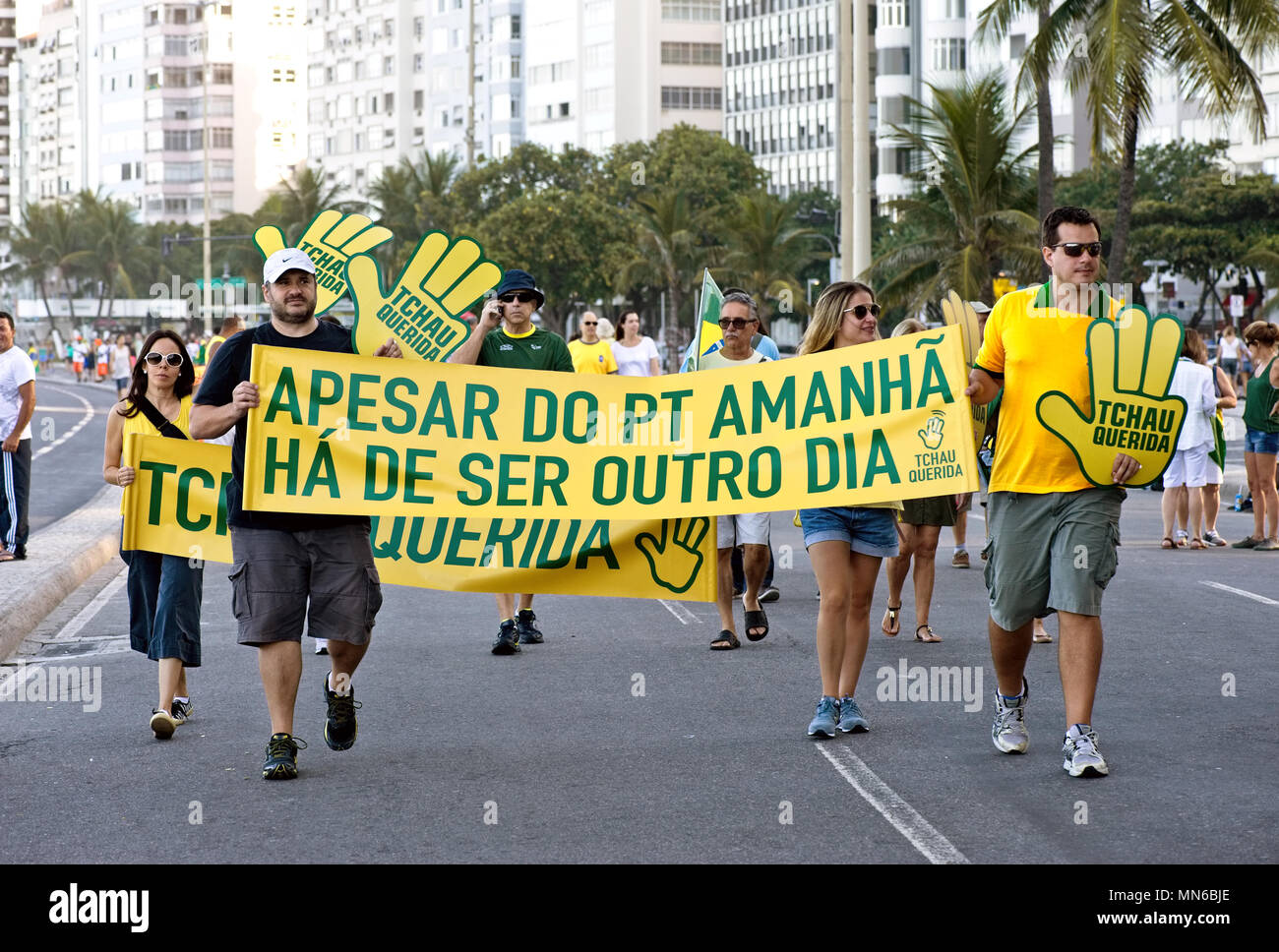 Copacabana, Rio de Janeiro - April 17, 2016: Demonstrators protest against the Brazilian Workers Party and the government of President Dilma Rousseff - Stock Image
