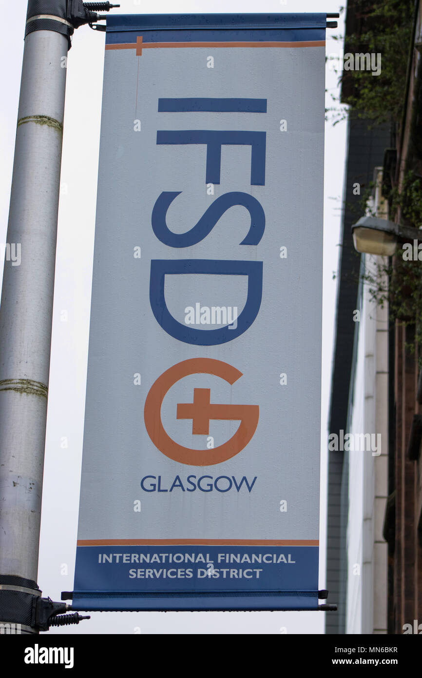 International Financial Services District (IFSD) banner, Robertson Street, Glasgow, Scotland - Stock Image