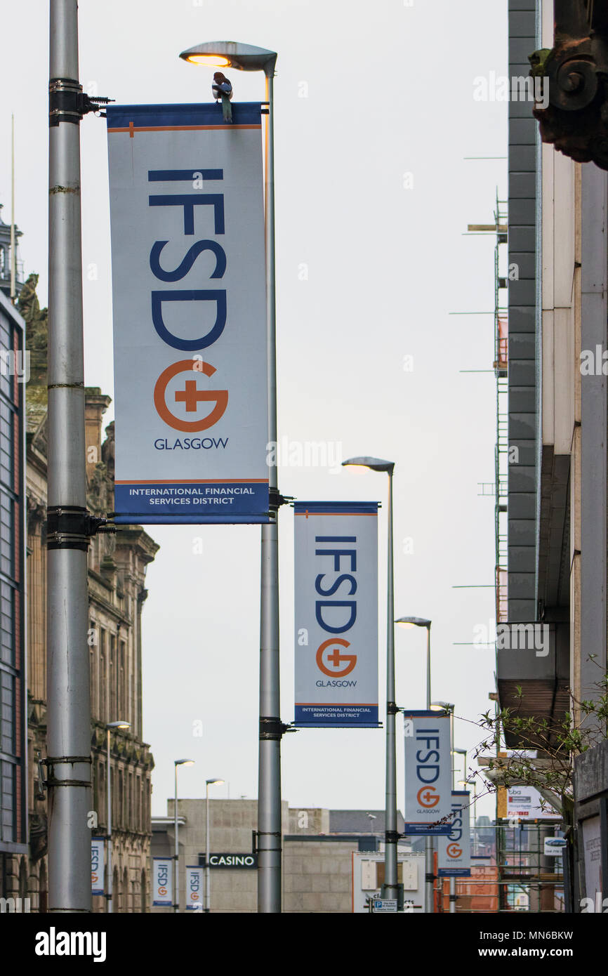 International Financial Services District (IFSD) banners, Robertson Street, Glasgow, Scotland - Stock Image