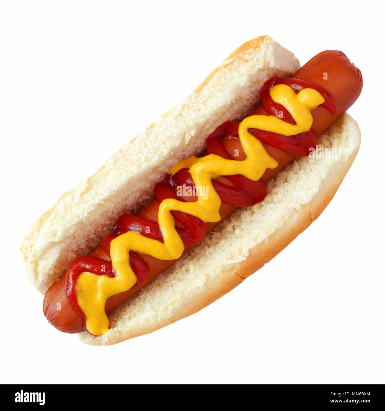 Hot dog with mustard and ketchup, top view isolated on a white background - Stock Image