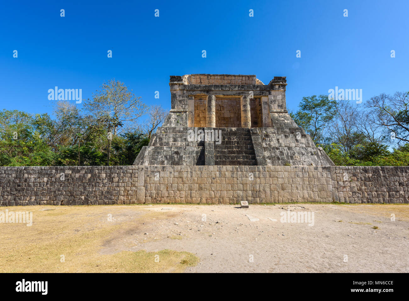View of the ballcourt at Chichen Itza, old historic ruins in Yucatan, Mexico - Stock Image