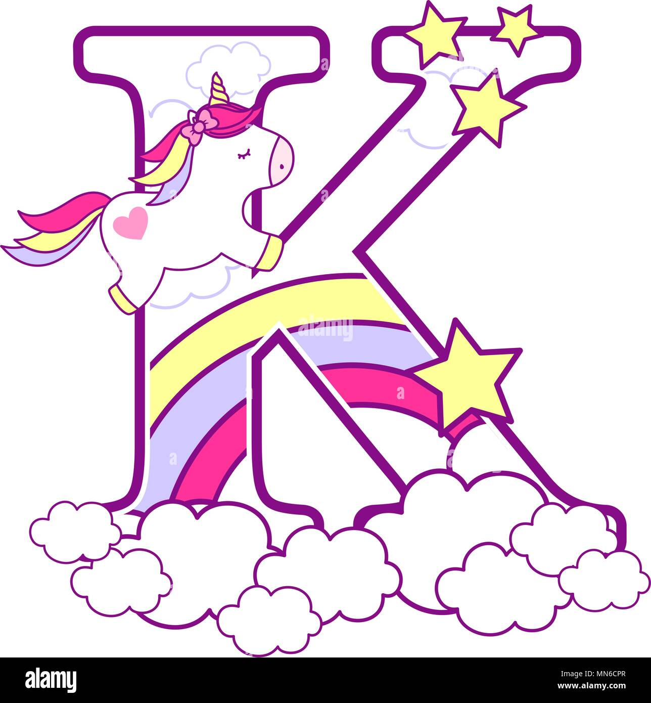 initial k with cute unicorn and rainbow. can be used for baby birth announcements, nursery decoration, party theme or birthday invitation. Design for  - Stock Vector