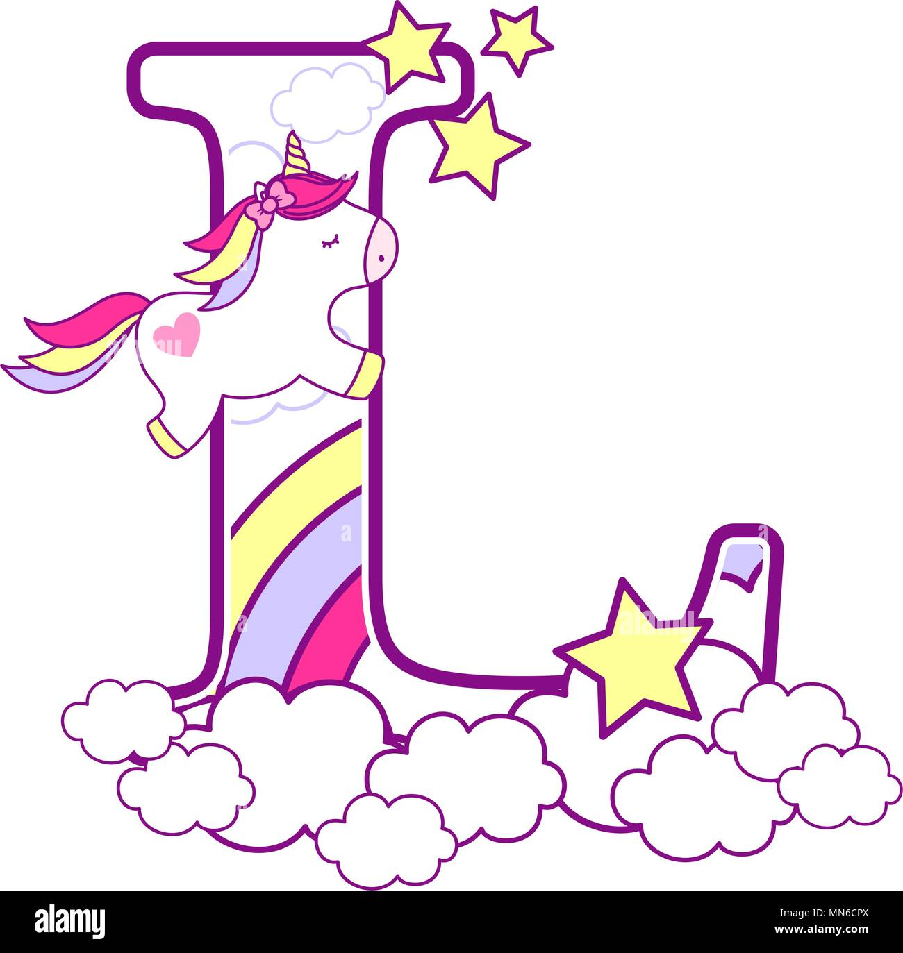 initial l with cute unicorn and rainbow. can be used for baby birth announcements, nursery decoration, party theme or birthday invitation. Design for  - Stock Image