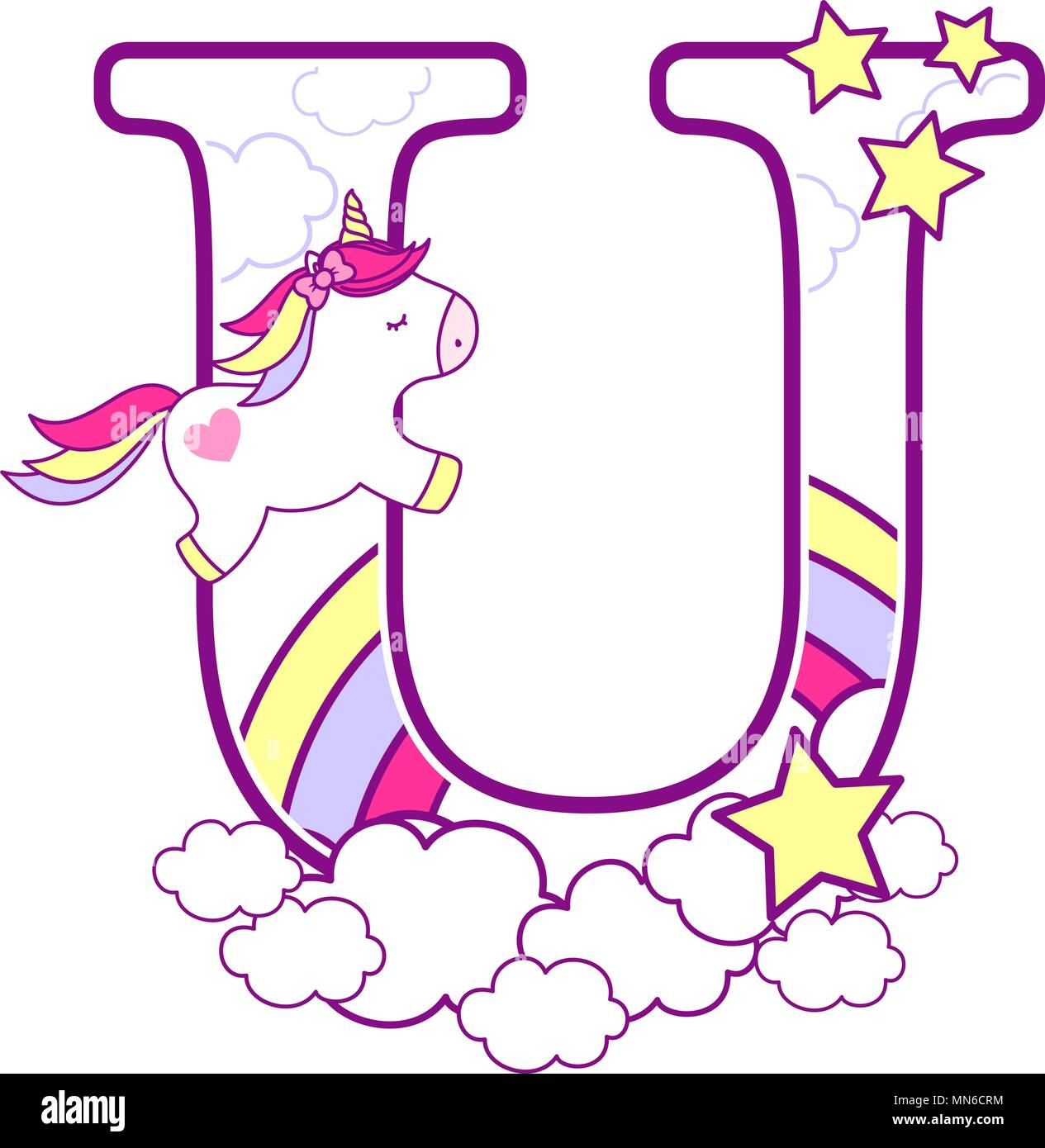 9369d0fb72 initial u with cute unicorn and rainbow. can be used for baby birth  announcements