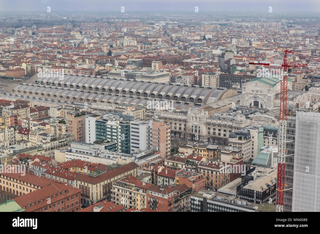 panoramic view of the Central Station from the terrace of a skyscraper, Milan Italy - Stock Image