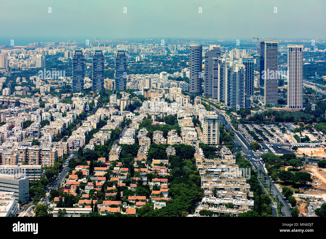 Aerial view of residential buildings and modern office towers in Tel Aviv, Israel. - Stock Image