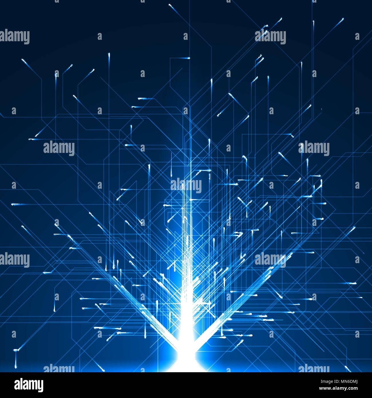 geometrically moving particules with energy trails. - Stock Vector