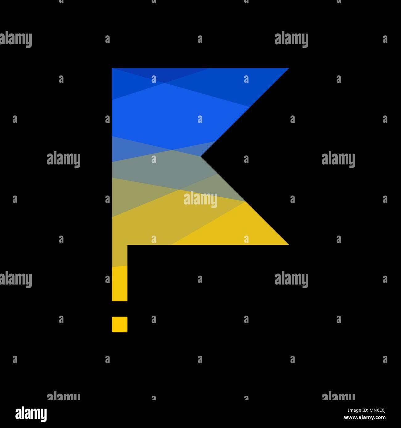 flag Ukraine on flagpole polygonal style - Stock Vector