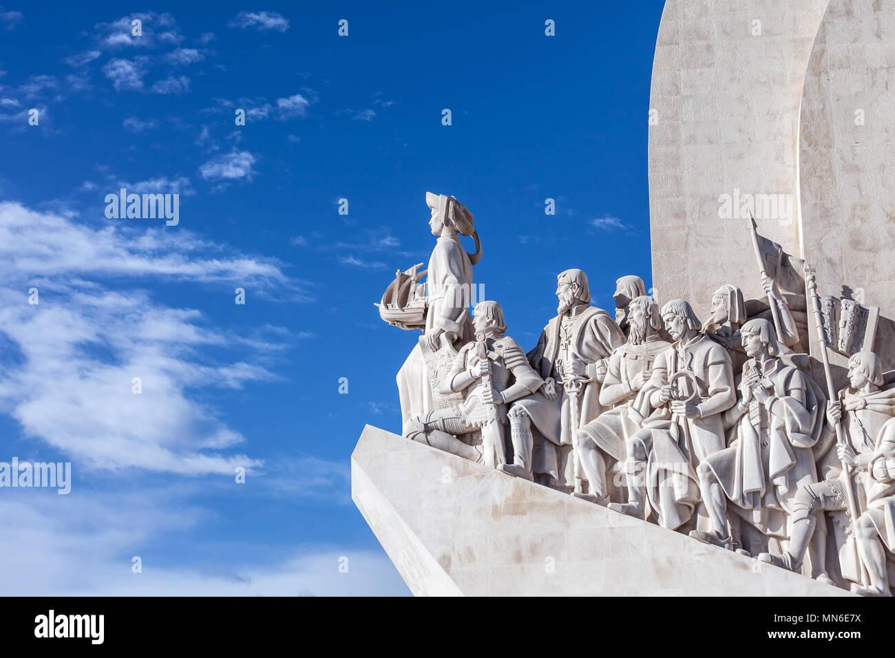 Lisbon, Portugal - February 04, 2018: Padrao dos Descobrimentos monument. The Sea Discoveries Monument commemorates the navigators who explored the oc - Stock Image