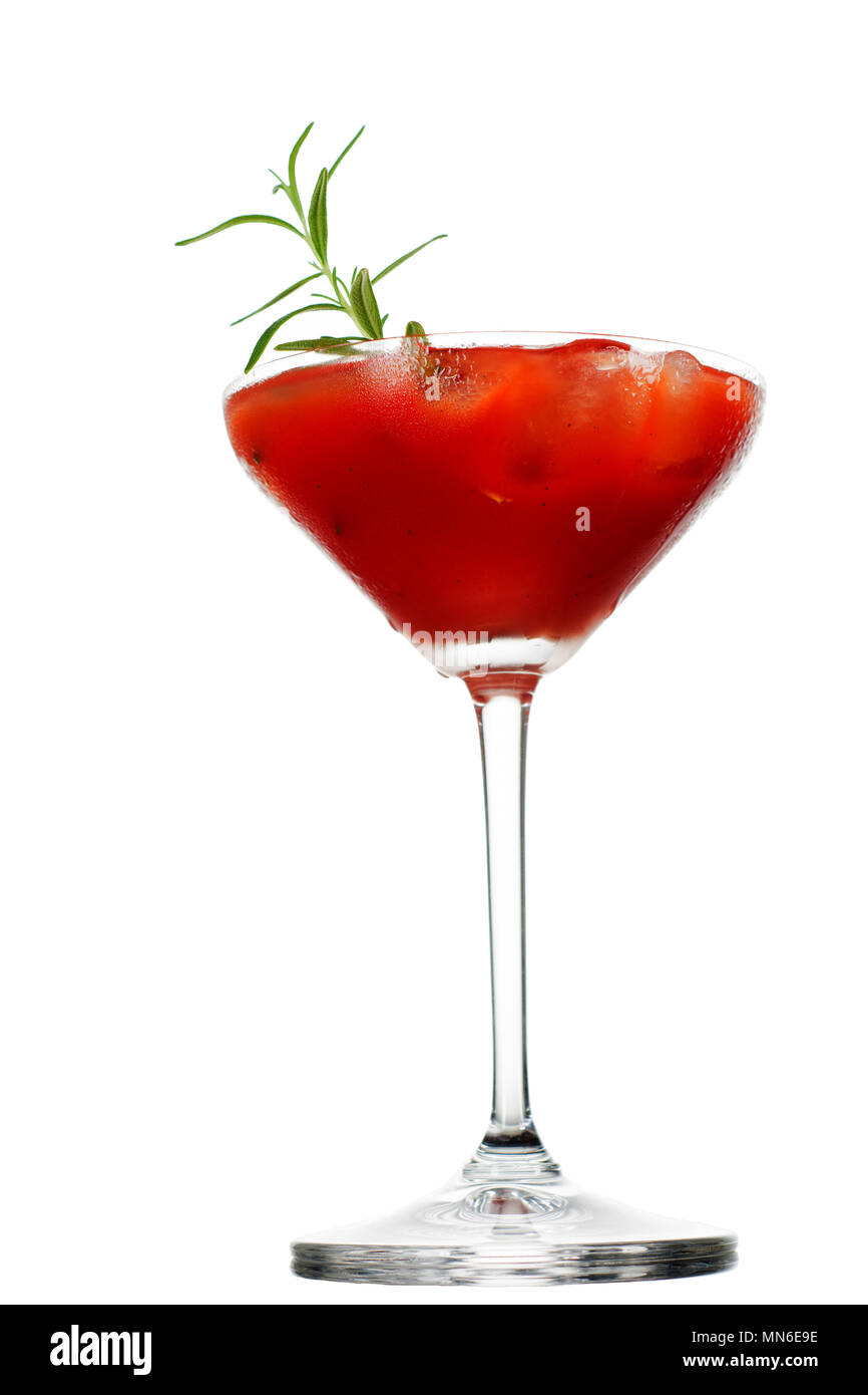 0da304f4636 A close-up of a bloody mary type drink or cocktail isolated on white  background.