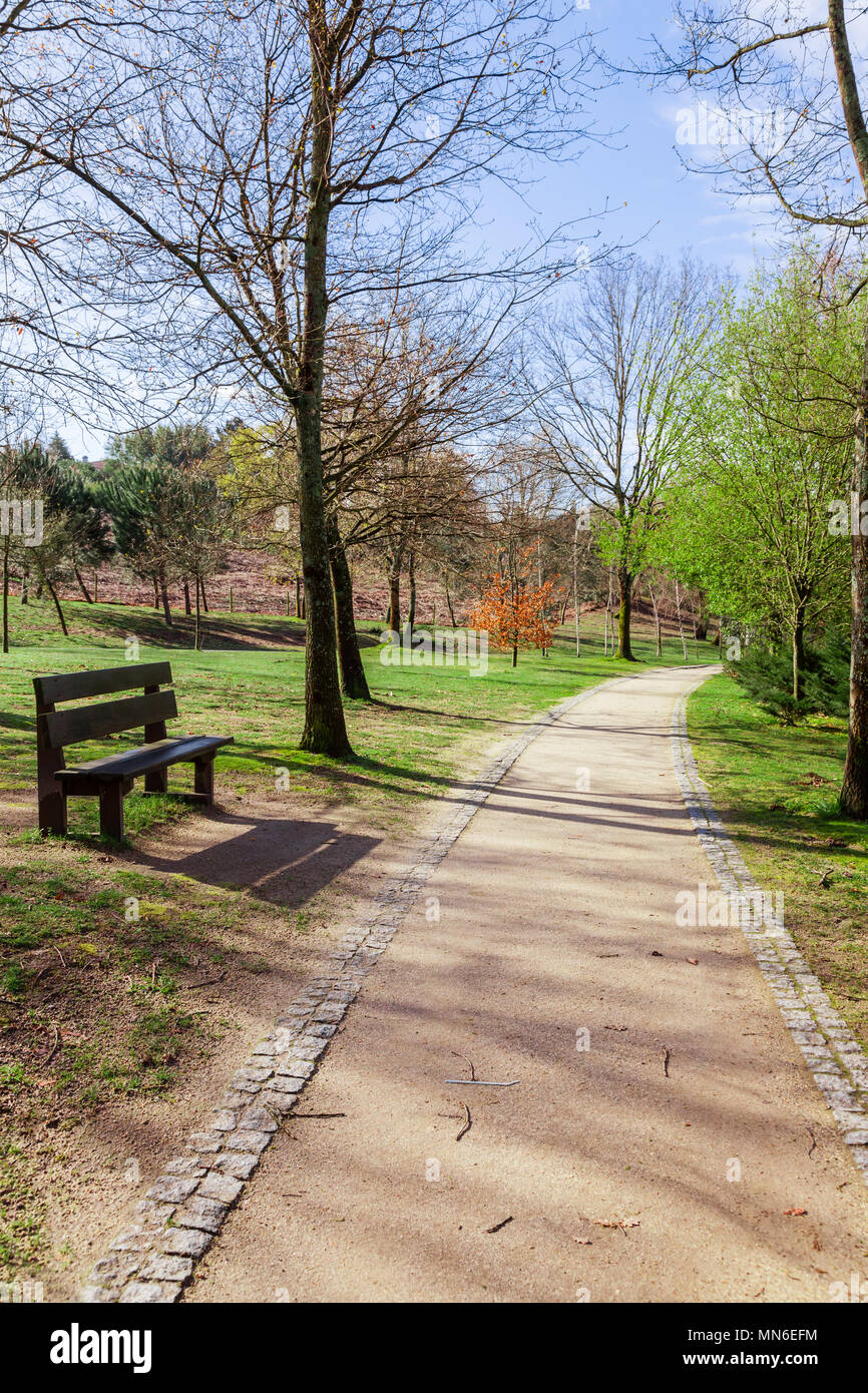 Garden or park bench near an empty dirt path, track, trail or pathway through the trees and green grass lawn in Parque da Devesa Urban Park. Vila Nova Stock Photo