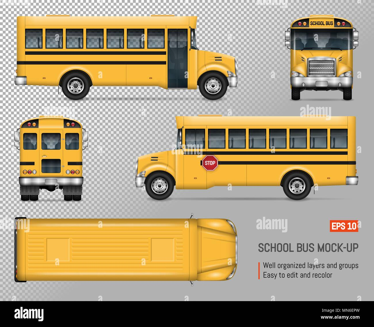 School Bus Vector Mock-up. Isolated Template Of Yellow