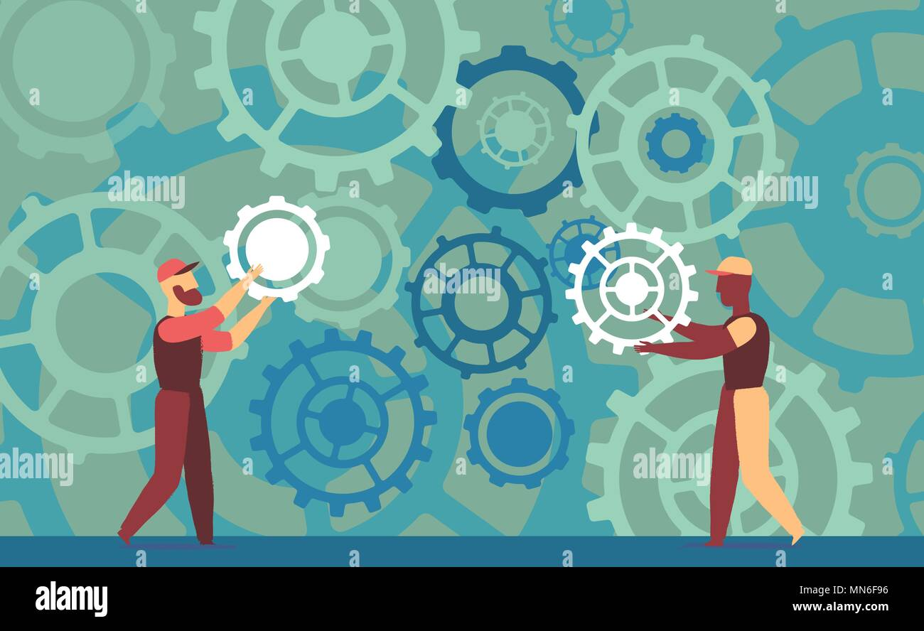 Two technicians work on a big and complex mechanism - Stock Vector