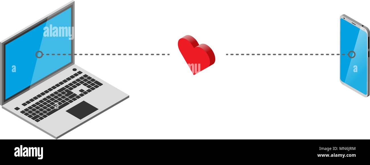 Open Notebook Transmits Heart To Mobile Phone On White Isometry
