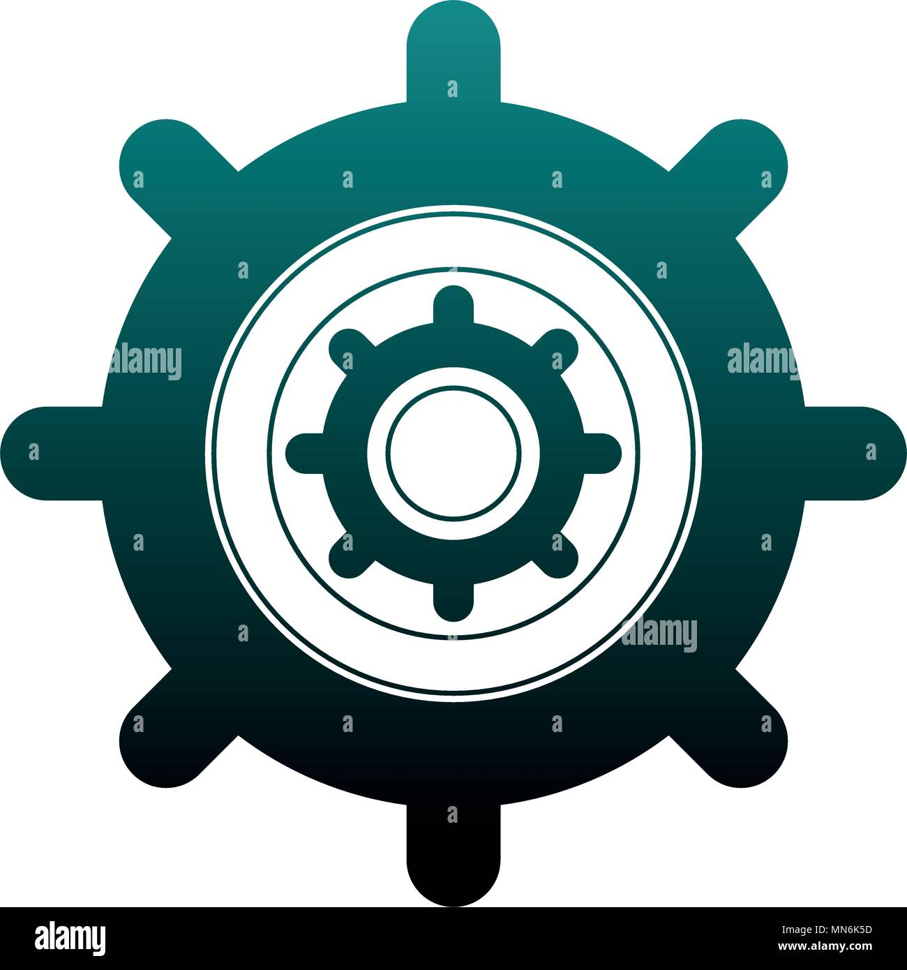 Gears machinery working in blue lines - Stock Vector