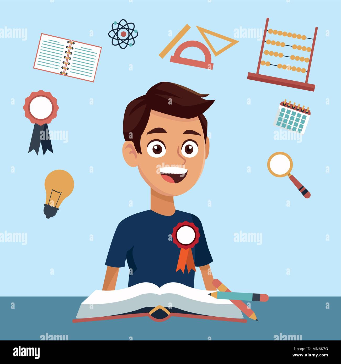 High school education cartoon - Stock Vector