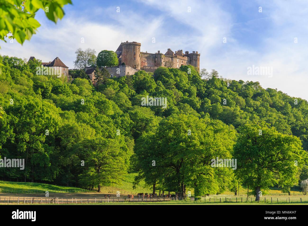 France, Lot, Quercy, Dordogne Valley, Prudhomat, Chateau de Castelnau Bretenoux // France, Lot (46), Quercy, vallée de la Dordogne, Prudhomat, château Stock Photo