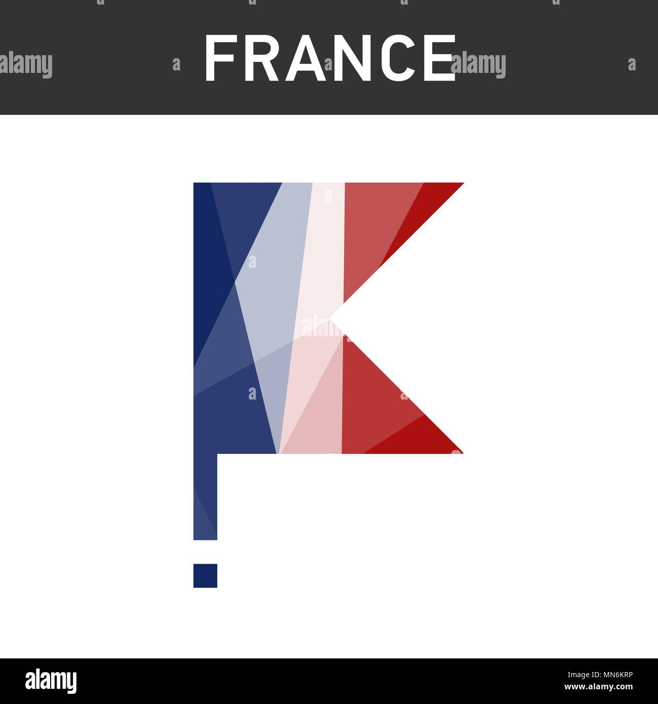 France flag on flagpole in polygonal style. isolated - Stock Vector