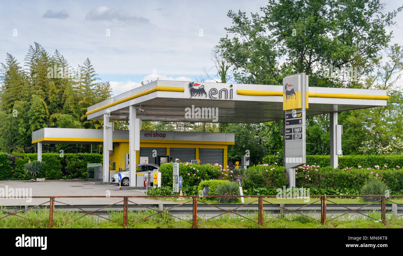 ENI petrol station. ENI is the Italian multinational oil and gas company headquartered in Rome. - Stock Image