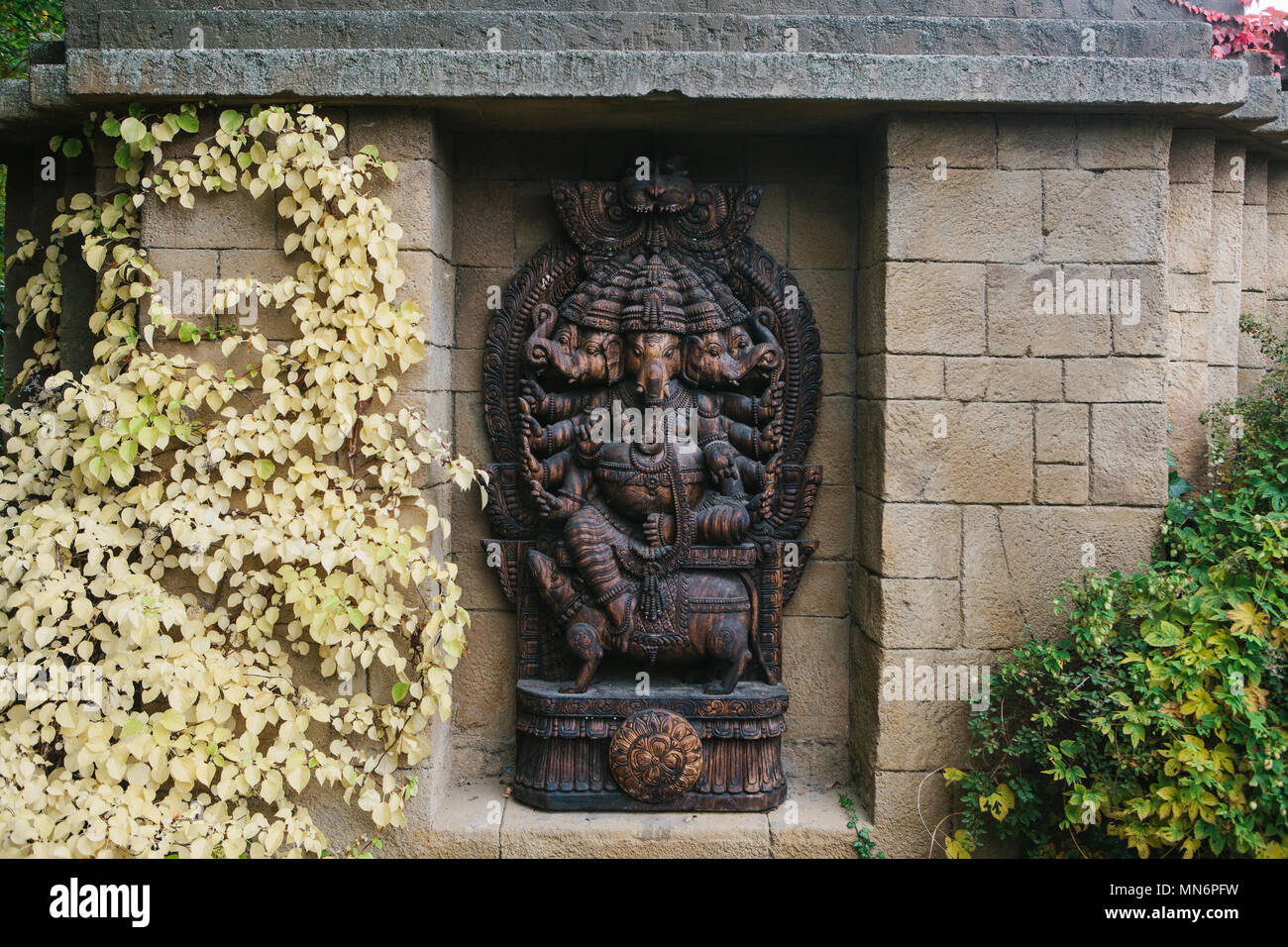 Ganesa or statue of god elephant in Hinduism - Stock Image
