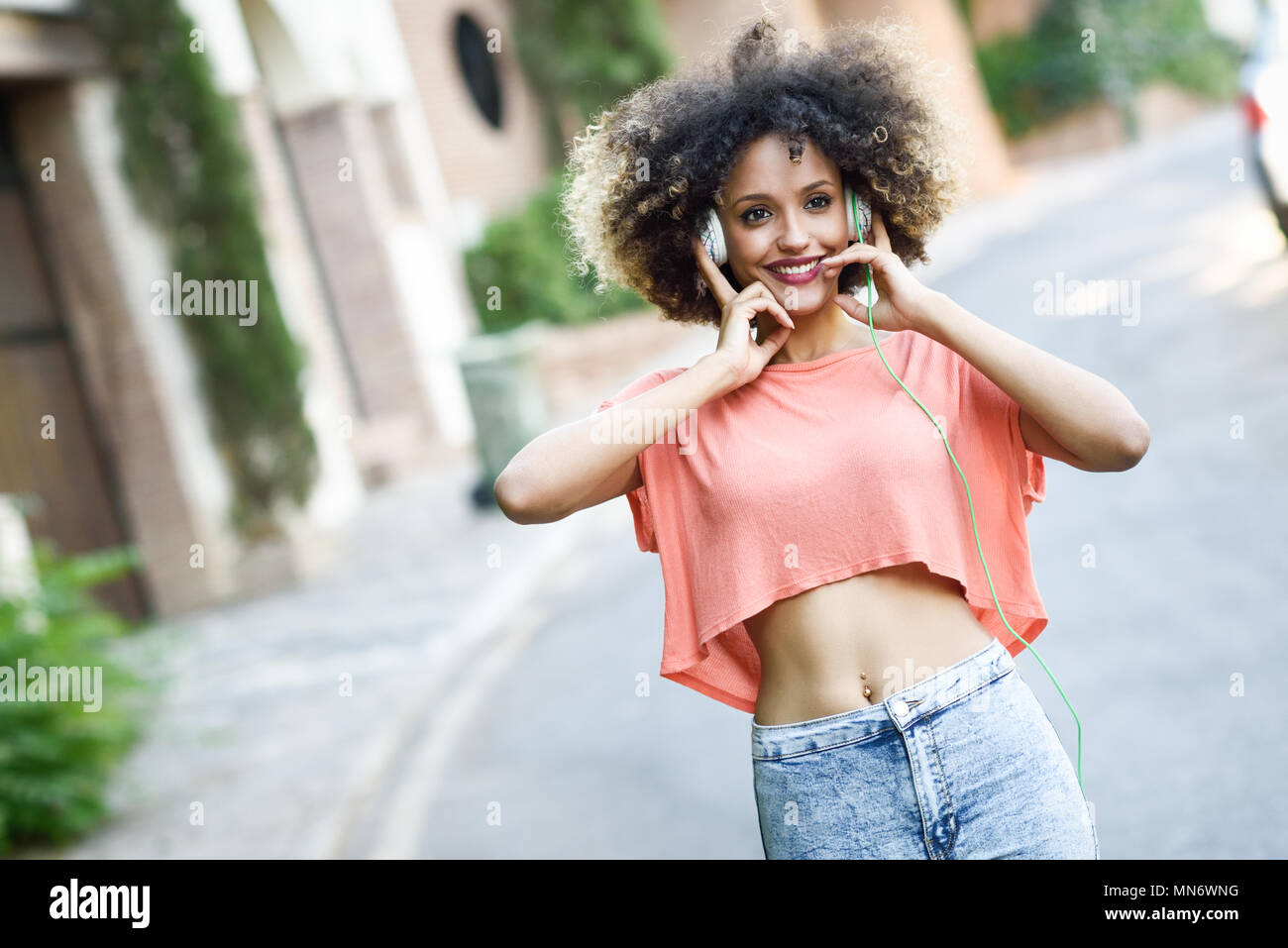 Portrait Of Young Attractive Black Girl In Urban Background
