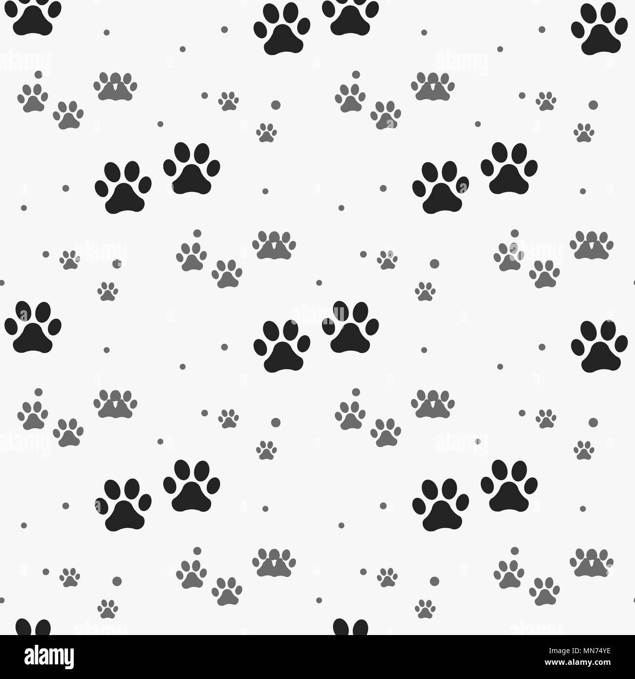 Dog paw print seamless pattern on white background eps 10 Stock