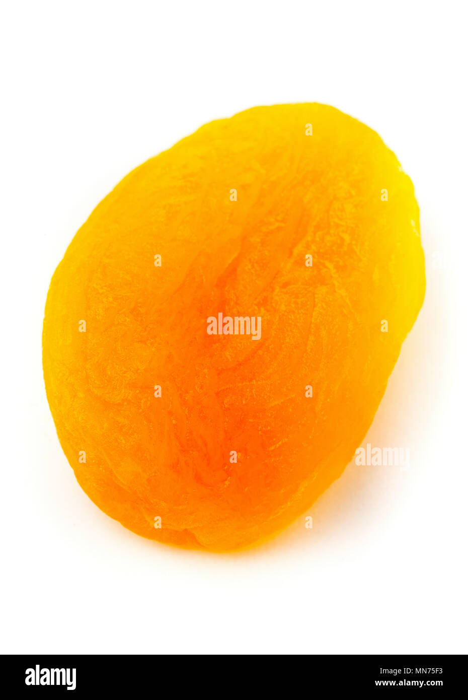 Single dried apricot fruit close up over white background with selective focus - Stock Image