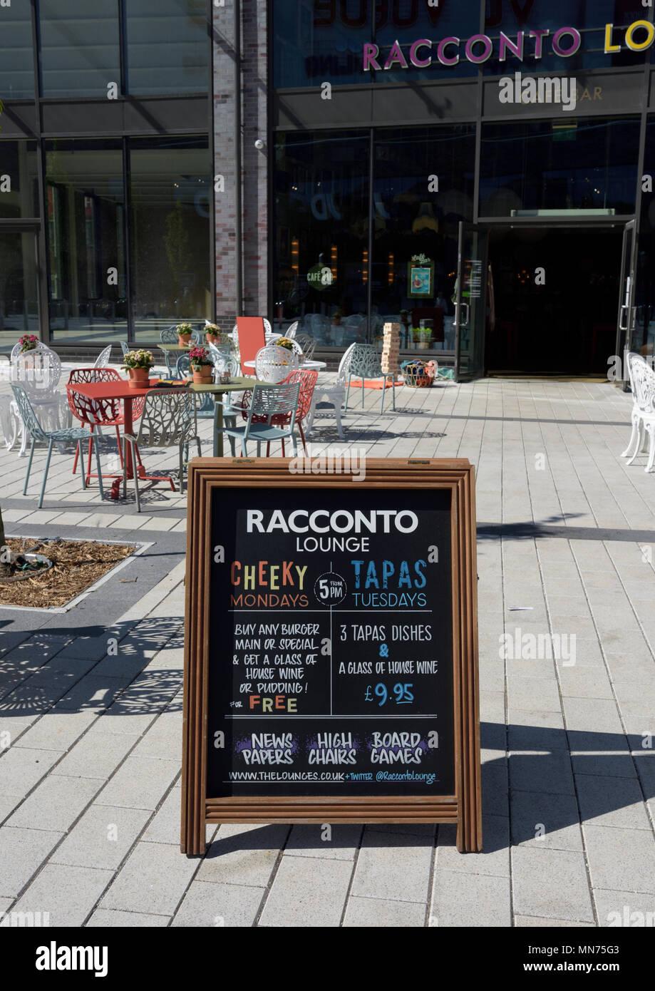 Racconto lounge chalkboard sign on pedestrianized area in bury lancashire - Stock Image