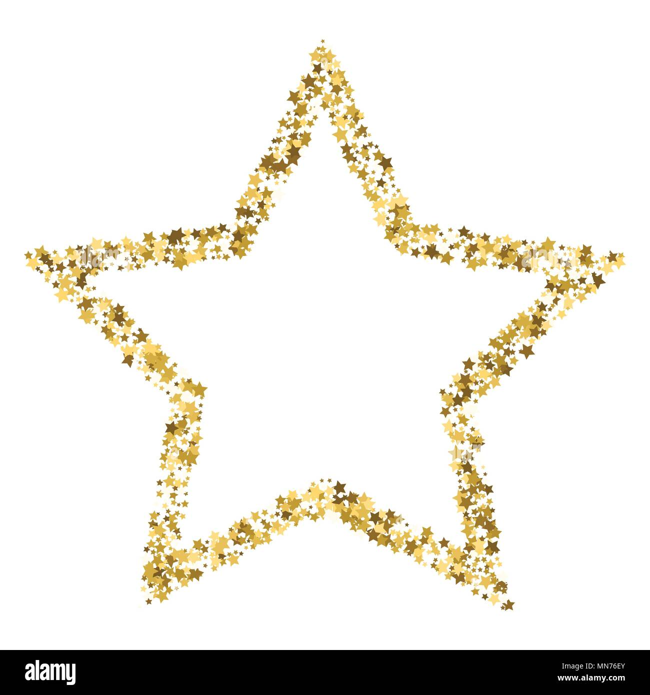 Golden Star Vector Banner On White Background Gold Glitter Star
