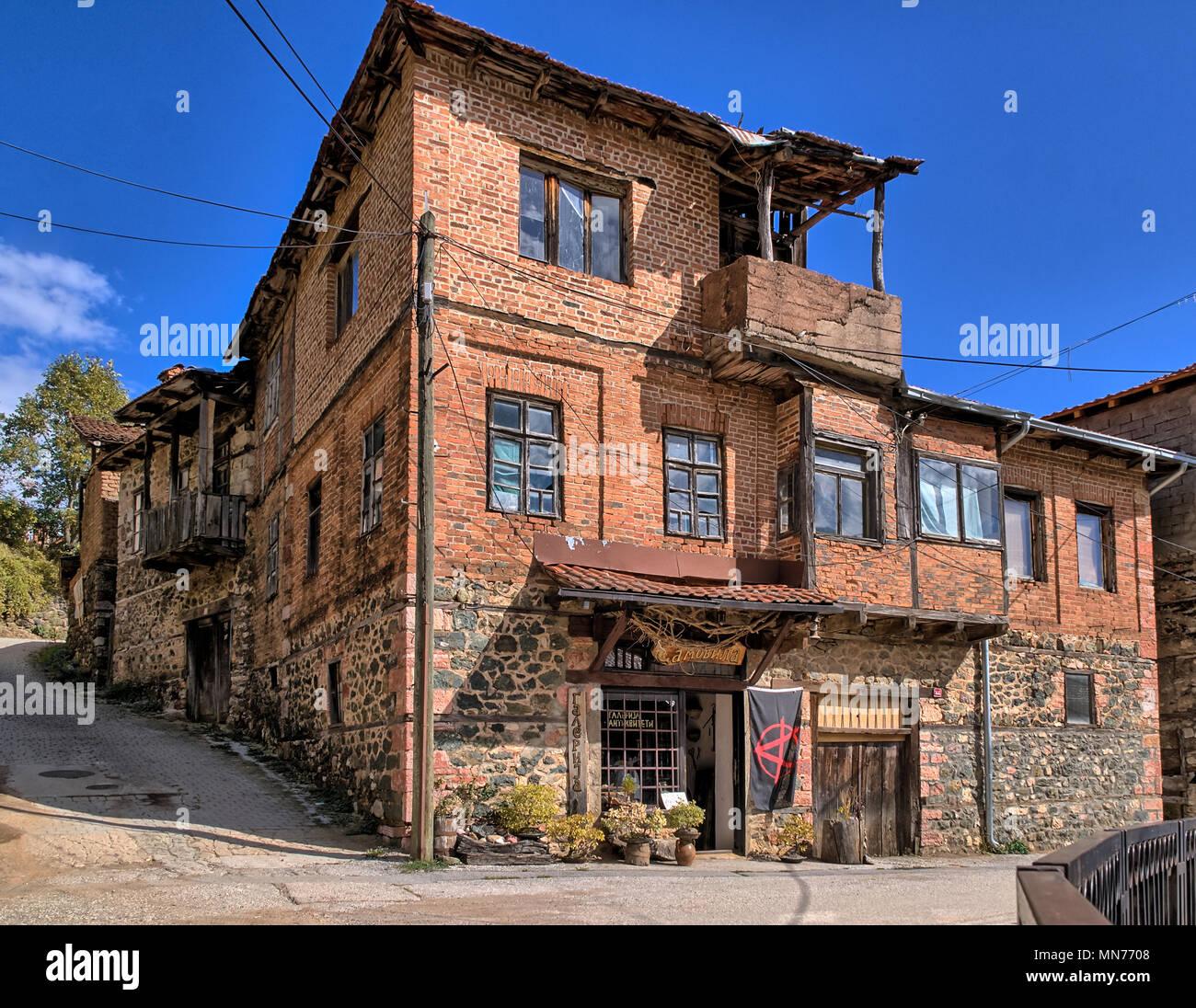 Old Traditional House Building in Republic of Vevčani in FYROM Macedonia, Balkans - Stock Image