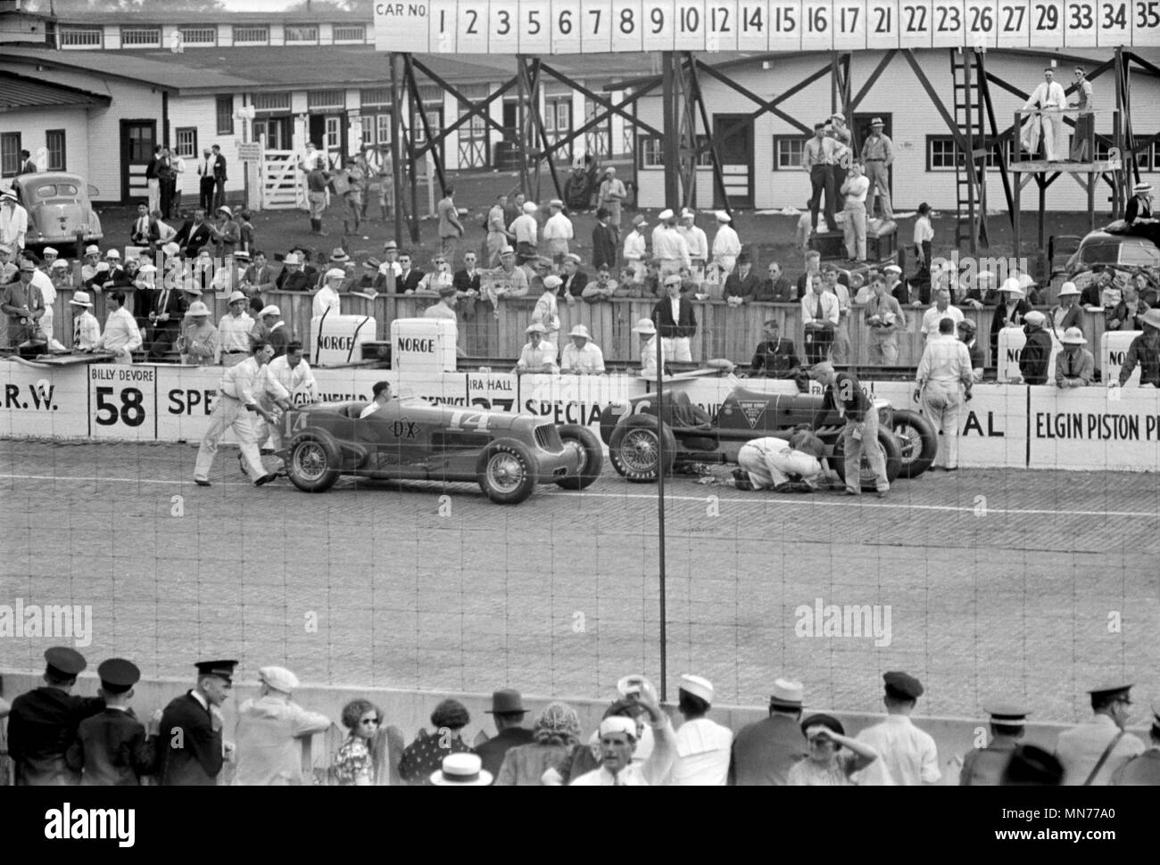 Automobile Race, Indianapolis, Indiana, USA, Arthur Rothstein for U.S. Resettlement Administration, May 1938 - Stock Image