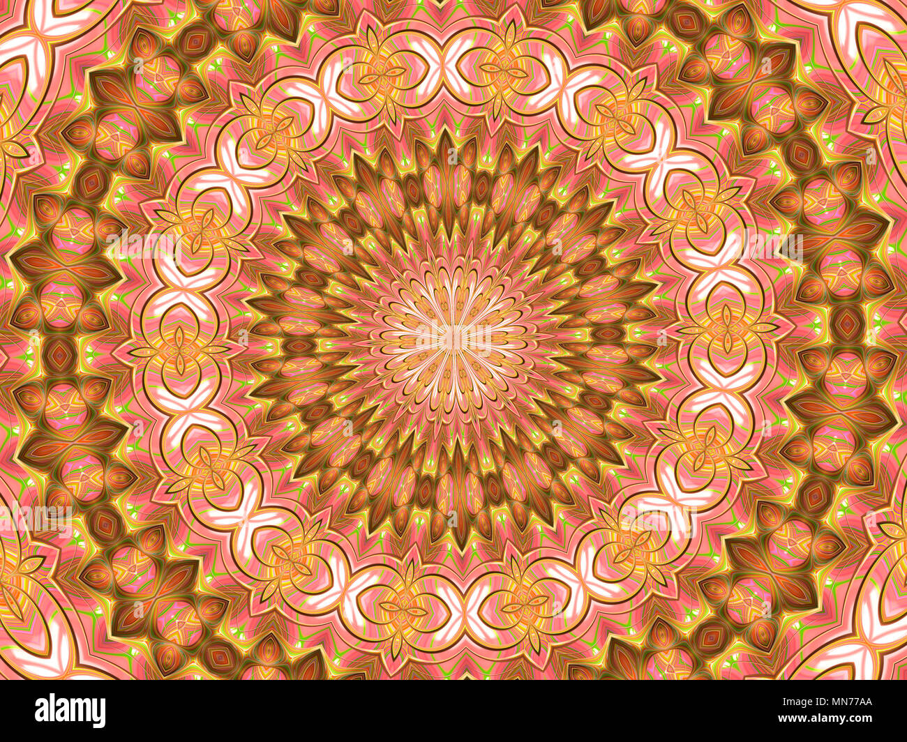 Kaleidoscope Star surrounded by unusual shapes - Stock Image