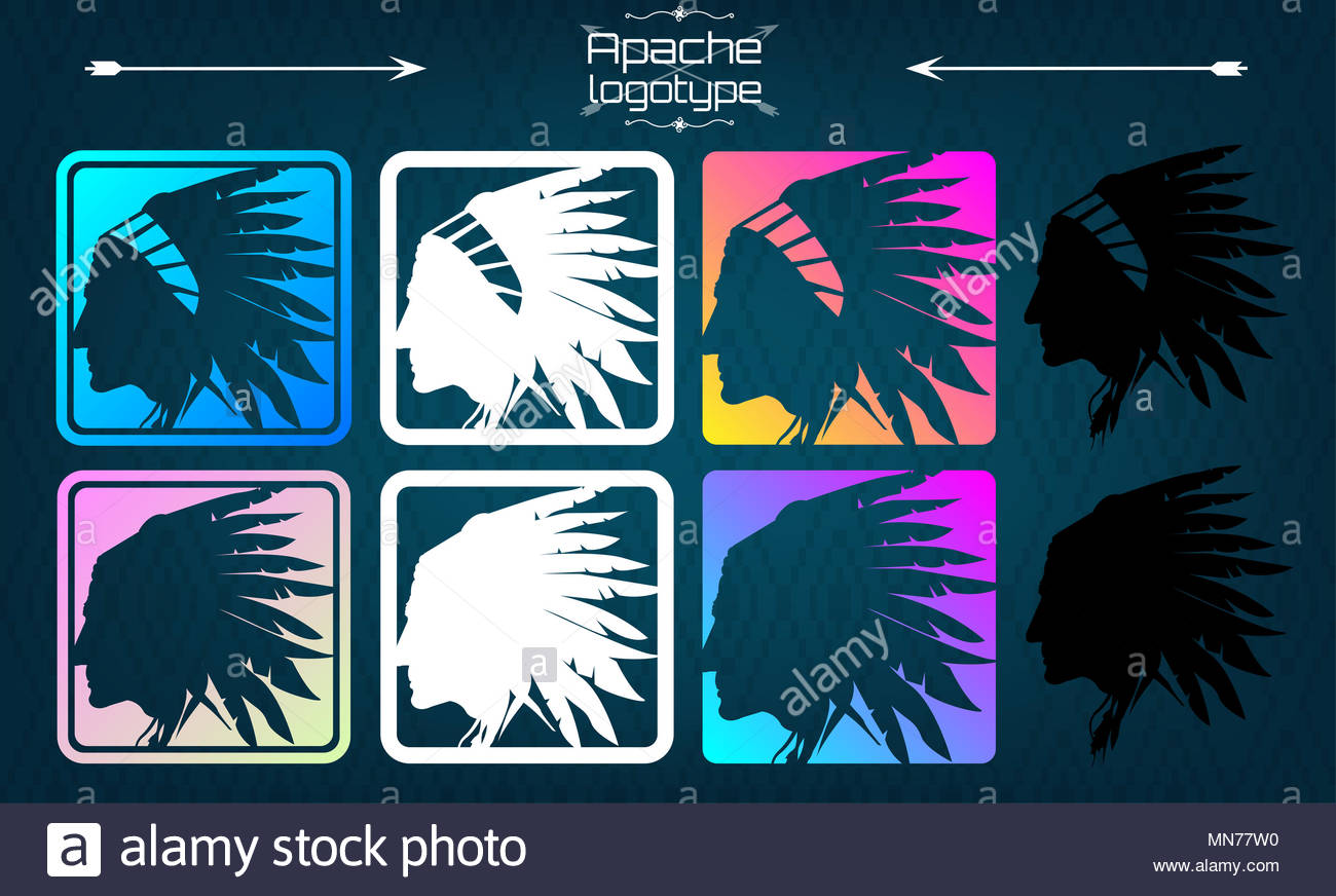 American indian logo, Apache logo. Silhouette of an American Indian, side view, 1 logo, in 8 different feeds. Head of an Indian with a headdress - Stock Image
