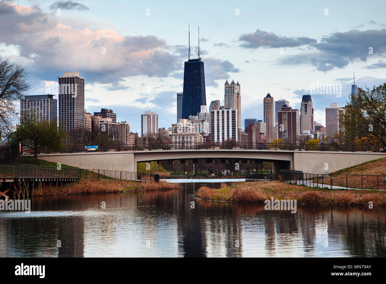 South pond pavilion view of the Chicago, Illinois skyline in the late afternoon. - Stock Image
