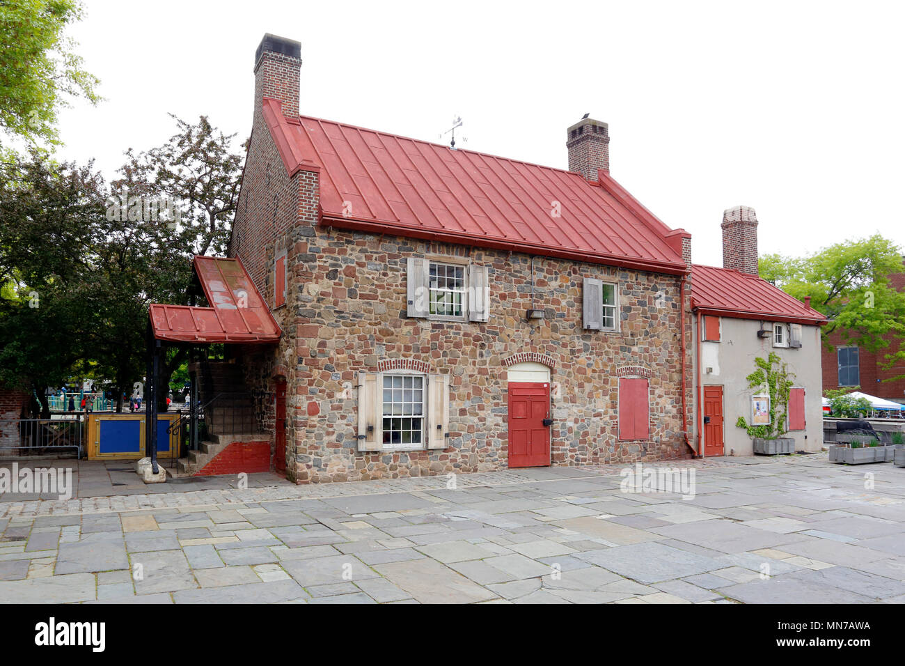 Old Stone House (made from the Vechte–Cortelyou House), 336 3rd St, Brooklyn, NY - Stock Image