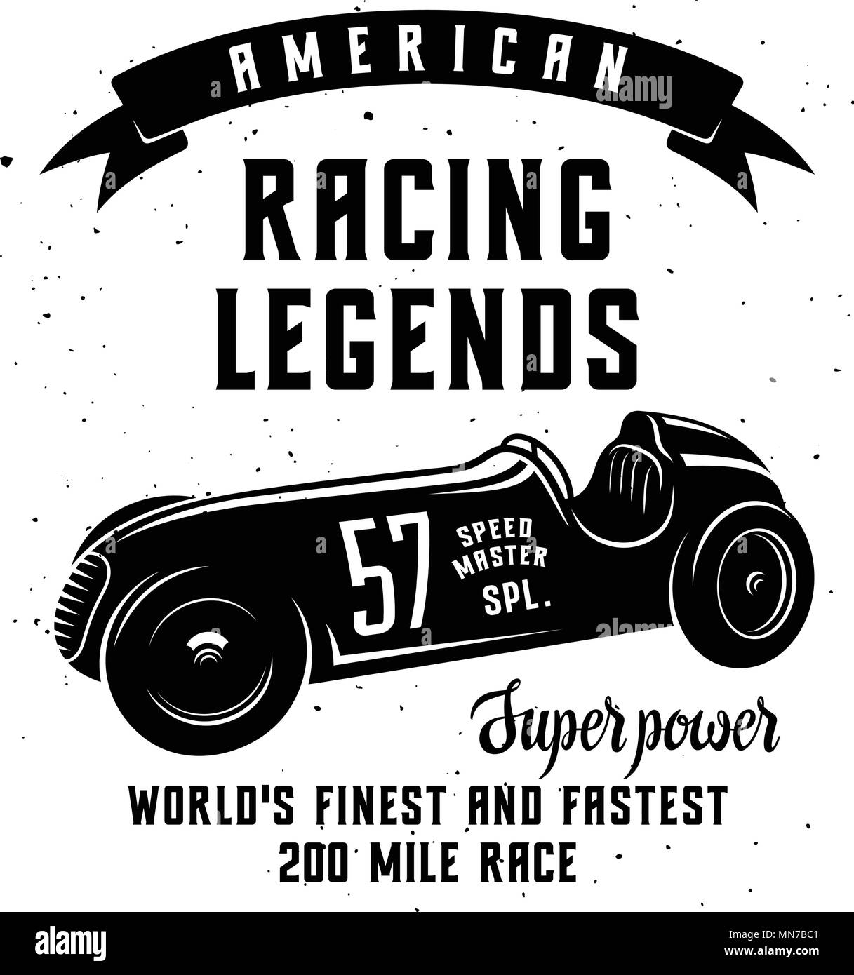 Racing Car t-shirt graphics / Speed Racer Graphic Tee / American car race vintage poster - Stock Image
