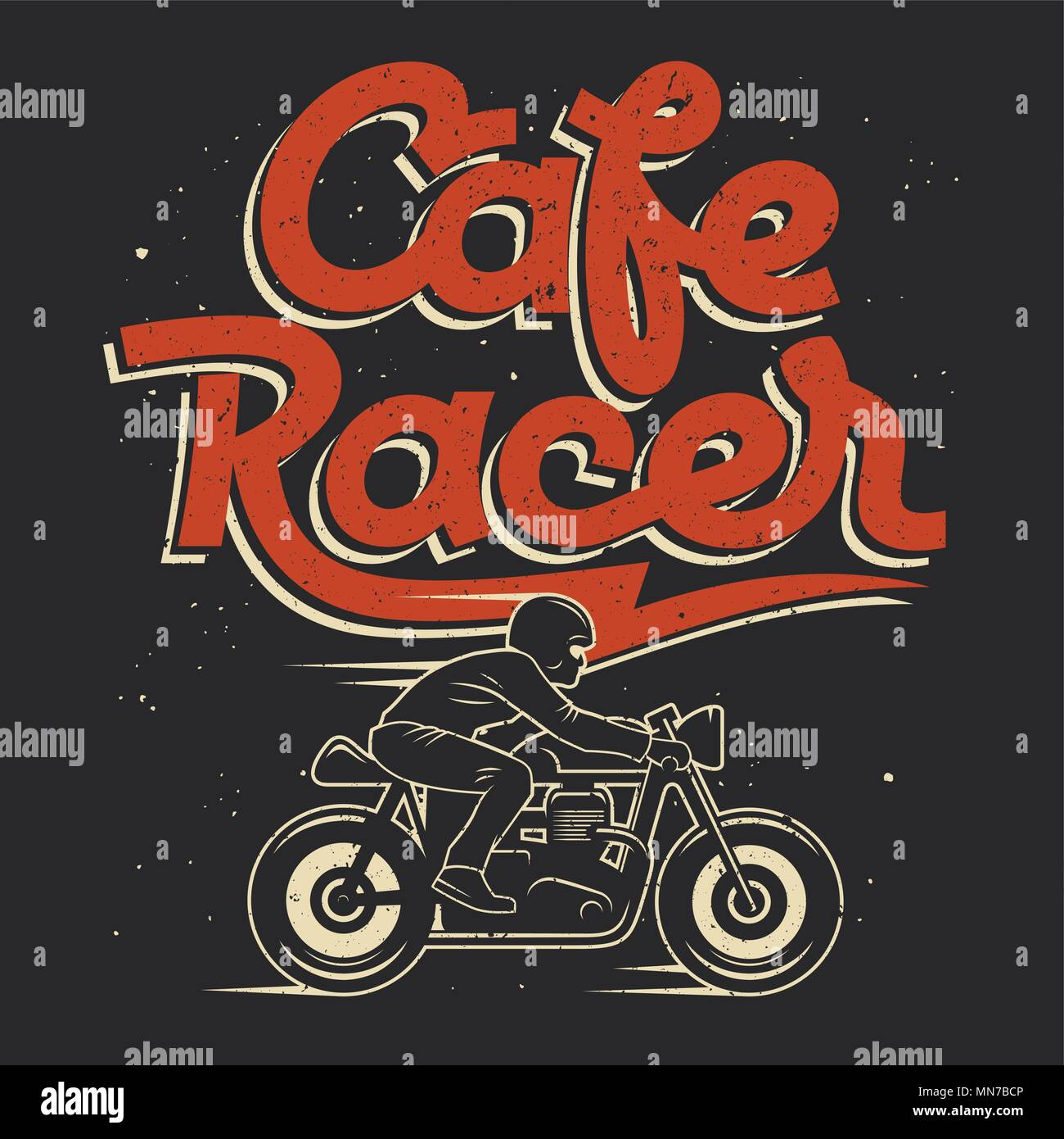 Motorcycle Rider and hand-made lettering / Cafe Racer T