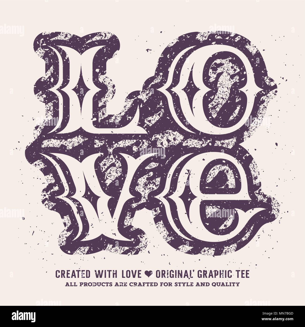 Love lettering. Valentines day romantic vector illustration. T-shirt apparel print graphics. Original graphic Tee - Stock Image