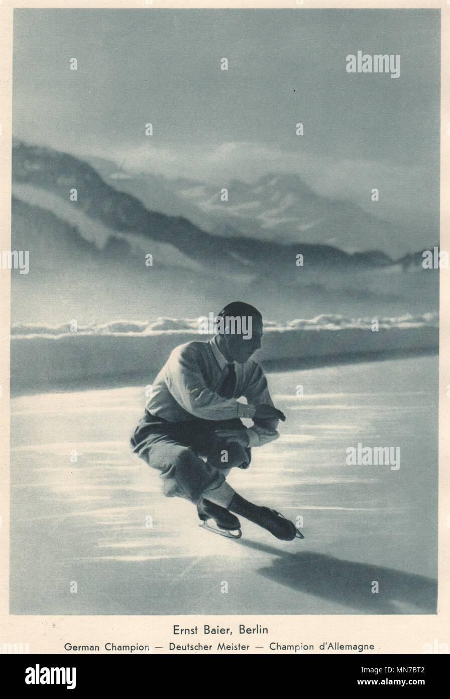 ICE FIGURE SKATING. Ernst Baier - German Champion - Deutscher Meister (1) 1935 - Stock Image