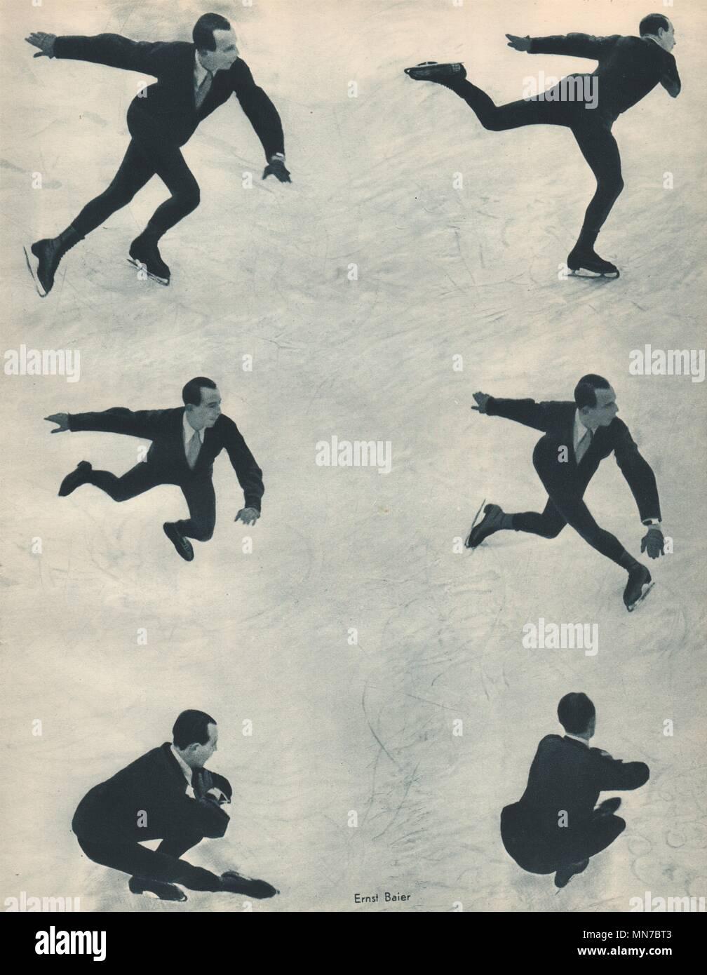 ICE FIGURE SKATING. Ernst Baier - German Champion - Deutscher Meister (2) 1935 - Stock Image