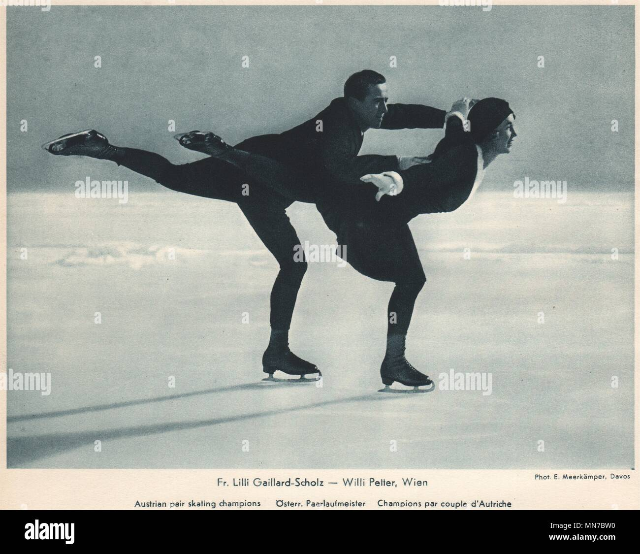 ICE FIGURE SKATING. Fr. Lilli Gaillard-Scholz - Willi Petter, Davos 1935 print - Stock Image