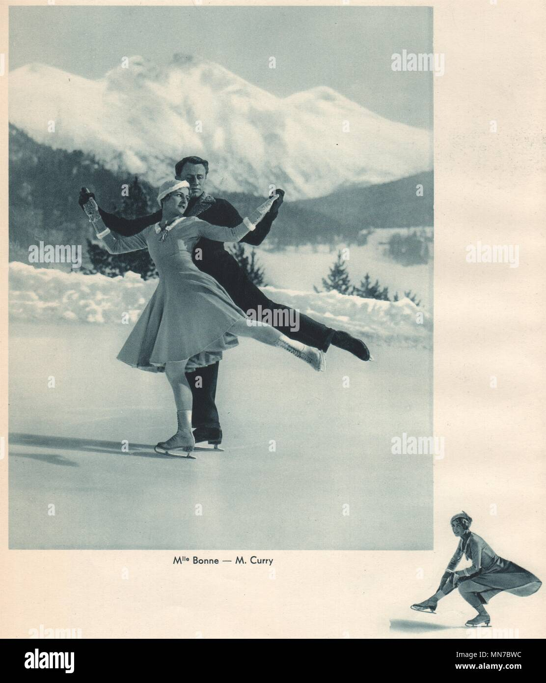 ICE FIGURE SKATING. Mlle Lucienne Bonne - M. Curry 1935 old vintage print - Stock Image
