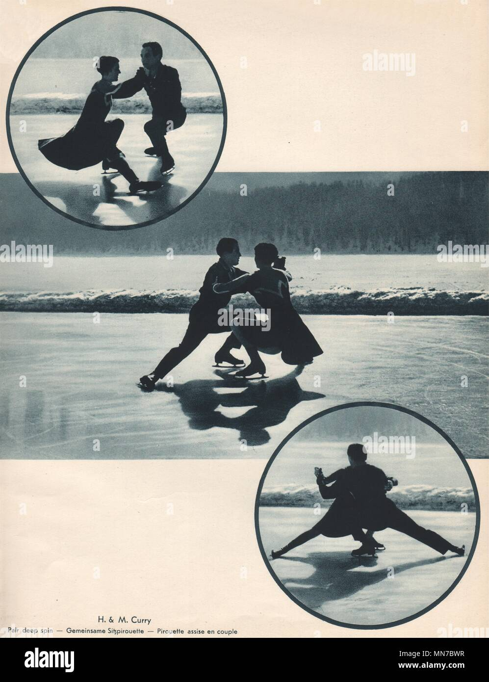ICE FIGURE SKATING. H. & M. Curry - Pair deep spin 1935 old vintage print - Stock Image