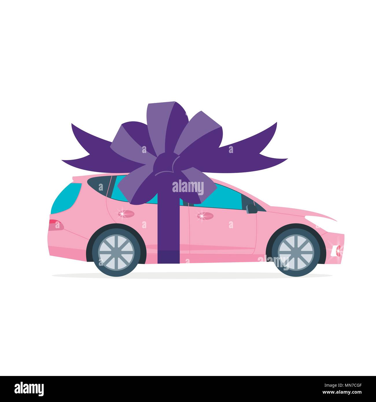 Poster with pink machine and ribbon. Car gift concept or presentation of  auto for sale, rent,. Flat vector illustration. Stock Vector
