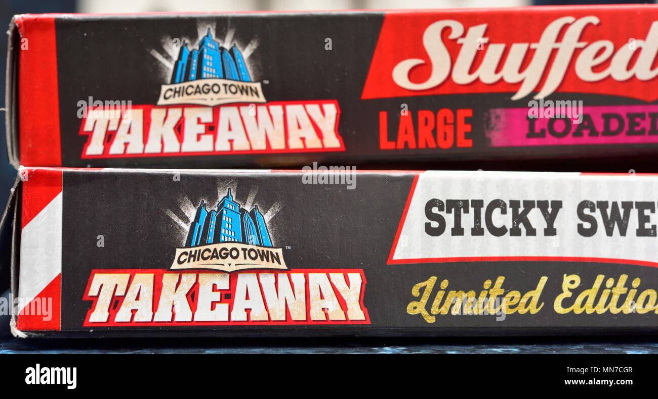 Chicago town takeaway pizza box close up - Stock Image