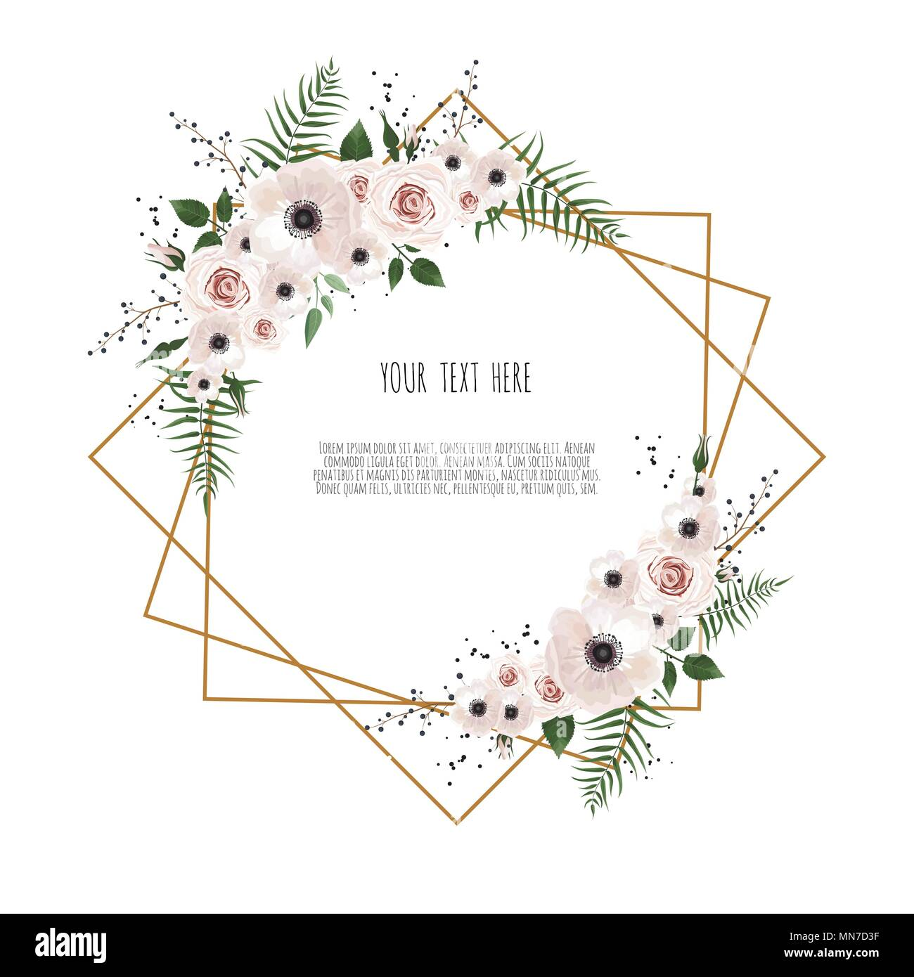 Card with flowers and geometrical frame floral poster invite card with flowers and geometrical frame floral poster invite vector decorative greeting card invitation design background m4hsunfo