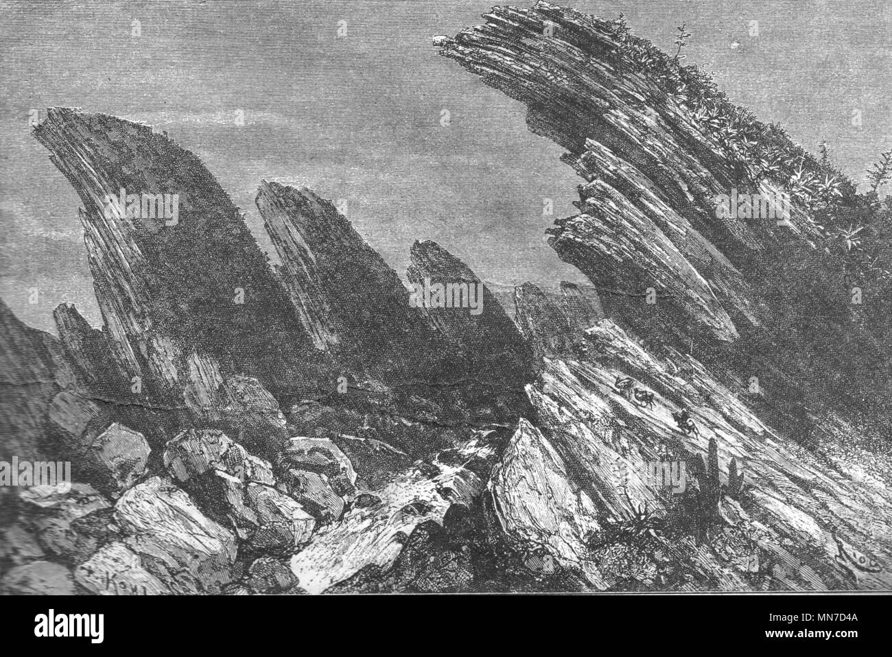 Cordilleras mountains. Vintage engraved illustration. Published in magazine in 1900. - Stock Image