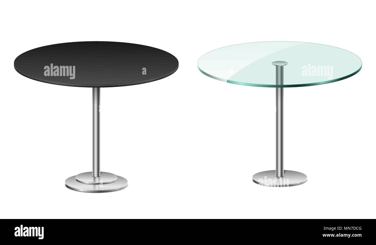 Empty Modern Black Round Table Isolated On White. Vector Glass Table ...
