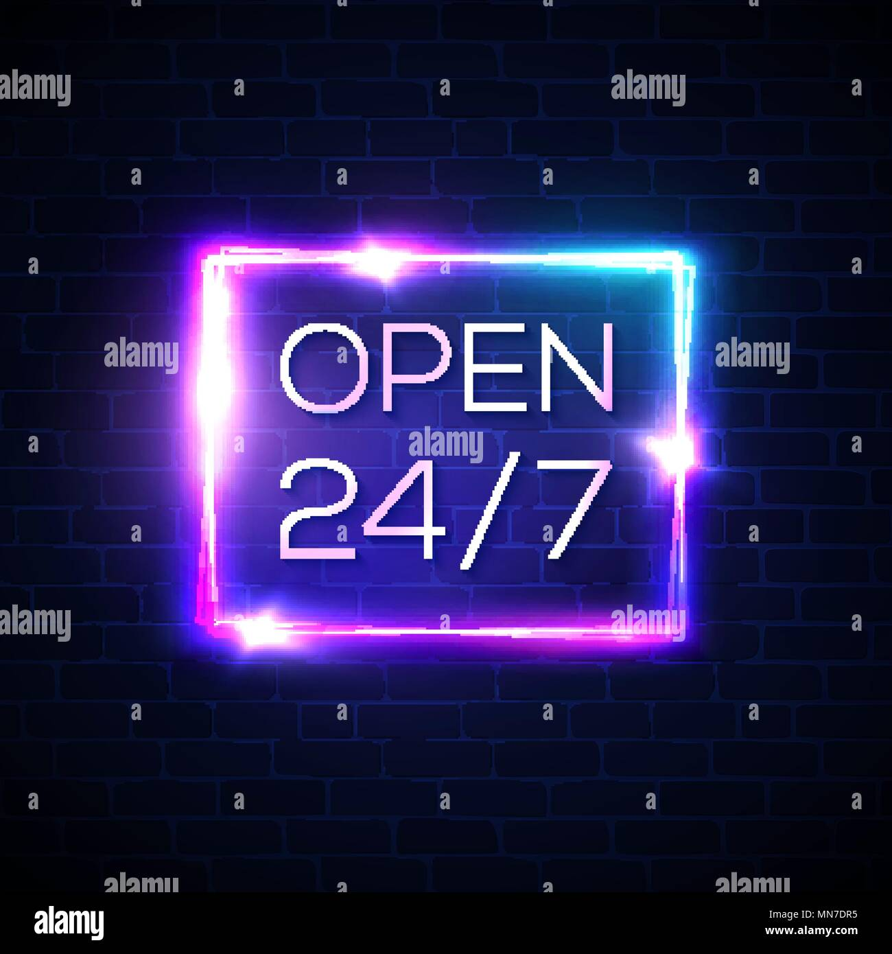Open sign 24 7 hours  Neon light rectangle round the clock